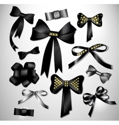 Retro satin black gift bow collection vector