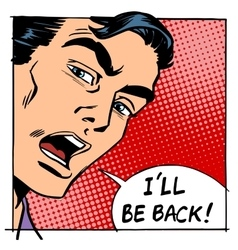 I will be back male hero face vector