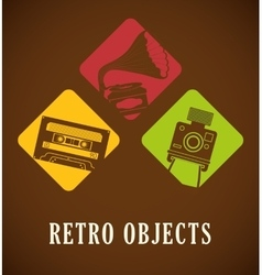 Retro objects vintage design vector