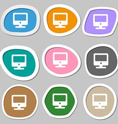 Monitor icon symbols multicolored paper stickers vector