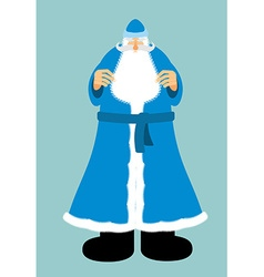 Russian santa claus in blue clothes new year old vector