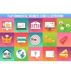 Set flat business commerce icons modern design vector