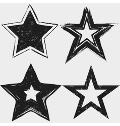 Grunge stars black and white collection vector image