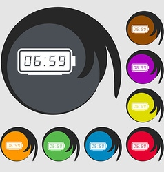 alarm clock icon Symbols on eight colored buttons vector image vector image