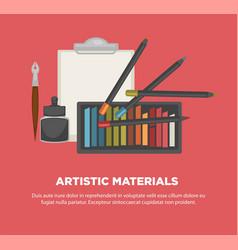 Artist paiting materials tools art vector