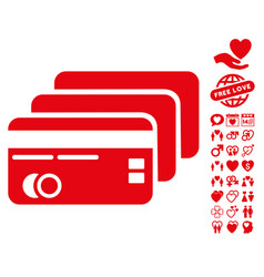 Banking cards icon with dating bonus vector