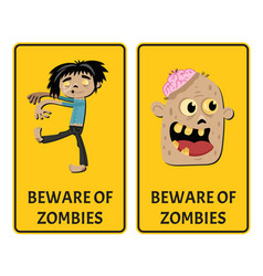 Beware of zombies stickers with comic undead man vector