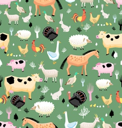 bright pattern of farm animals vector image