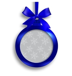 Card blue medallion with ribbon and place for an vector