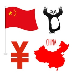China symbol icons set Map and flag of country vector image