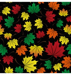 colorful leaves dark fall seamless pattern eps10 vector image vector image