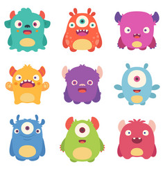 cute cartoon monsters vector image vector image