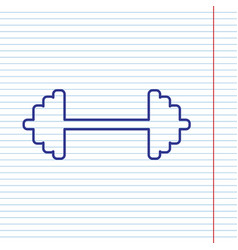 Dumbbell weights sign navy line icon on vector