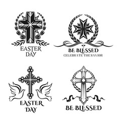 easter crucifix cross symbols for greeting vector image vector image