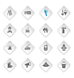 fire brigade icon set vector image vector image