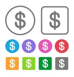 Flat Design Money Icon Color Set vector image vector image