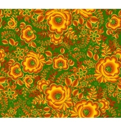 Gold and green floral pattern in Russian hohloma vector image
