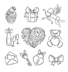 Hand drawn valentines day icons vector