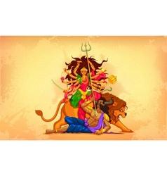 Happy dussehra with goddess durga vector