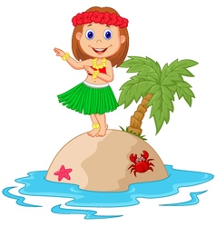 Hula girl in the tropical island vector