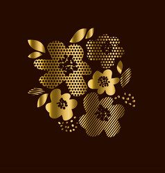 Luxury gold floral print with geometry patterns vector