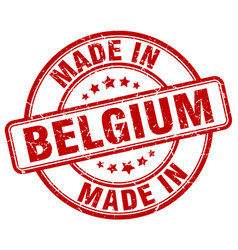 Made in belgium red grunge round stamp vector