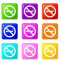 No smoking sign icons 9 set vector