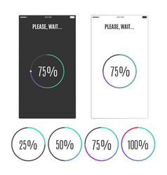 Phone screen with loading percentage marks icons vector