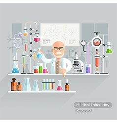 Professor Working on Medical Laboratory vector image