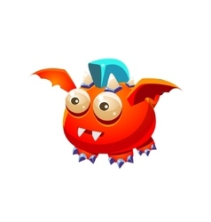 Red fantastic friendly pet dragon with blue mohawk vector