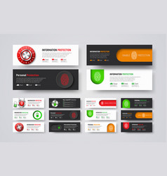 Set of horizontal web banners to protect vector