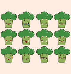 set of kawaii broccoli emoticons isolated on vector image vector image