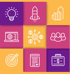Startup line icons idea product launch funding vector