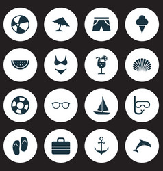 Sun icons set collection of goggles forceps vector