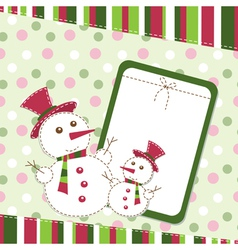 Template christmas greeting card with snowmen vector image