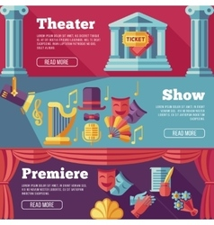Theatre flat banners set vector