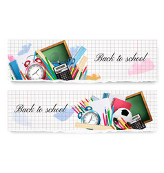 two back to school banners with school supplies vector image