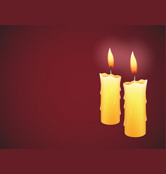 Two burning candles on red background vector