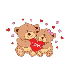 Two teddy bear holding a heart characters vector image
