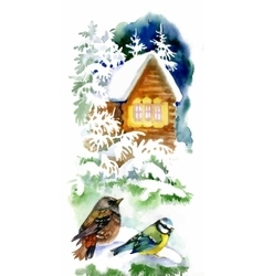 Watercolor winter landscape with snowy house with vector
