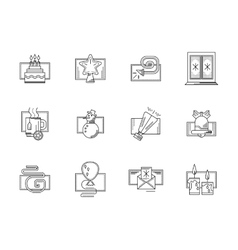 Winter holidays black line icons set vector image vector image