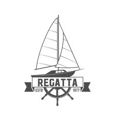 Yacht club badge logo label vector image