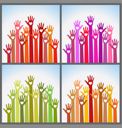 set of colorful volunteers caring up hands hearts vector image
