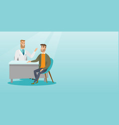Physician consulting male patient in office vector