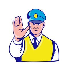 Police officer holding hand up vector