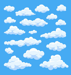 Cartoon clouds isolated on blue sky panorama vector