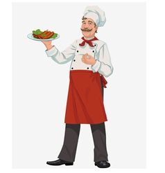 Chef with cooked grill ribs vector