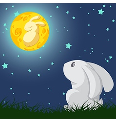 Rabbit and the moon vector