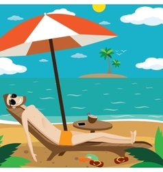 Man sunbathing on the beach vector