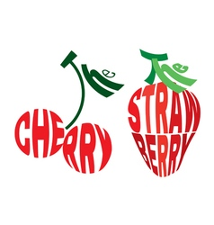 Emblem element in form of cherry and strawberry vector